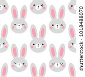 cute easter seamless pattern... | Shutterstock .eps vector #1018488070