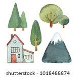 watercolor illustration. flat... | Shutterstock . vector #1018488874