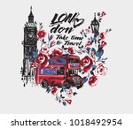 london bus with flowers ... | Shutterstock .eps vector #1018492954