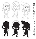 boy and girl jumping the rope... | Shutterstock .eps vector #1018493110