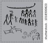 gobustam pictograms azerbaijan | Shutterstock .eps vector #1018500823