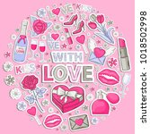 vector icon sticker set with... | Shutterstock .eps vector #1018502998