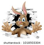 easter bunny sign with rabbit... | Shutterstock .eps vector #1018503304