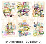 retro squares and circles in... | Shutterstock .eps vector #10185040