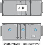 air handling unit plan view and ... | Shutterstock .eps vector #1018504990
