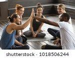 smiling diverse yoga team...   Shutterstock . vector #1018506244