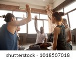 happy diverse people raise...   Shutterstock . vector #1018507018