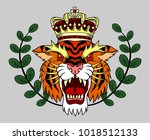 portrait of a grinning tiger ... | Shutterstock .eps vector #1018512133