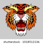portrait of a grinning tiger  | Shutterstock .eps vector #1018512136