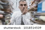 frustrated overwhelmed... | Shutterstock . vector #1018514539