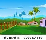 village scenery vector | Shutterstock .eps vector #1018514653