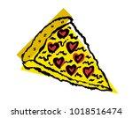 pizza slice vector icon in... | Shutterstock .eps vector #1018516474