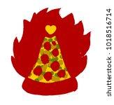 burning pizza slice vector icon ... | Shutterstock .eps vector #1018516714
