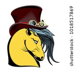 portrait of a horse in a hat.... | Shutterstock .eps vector #1018517869