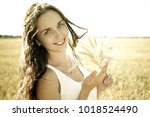 young smiling beautiful girl... | Shutterstock . vector #1018524490