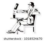man is pouring wine into the...   Shutterstock .eps vector #1018524670