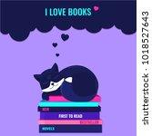 cute fox dreaming on the booksa ... | Shutterstock .eps vector #1018527643