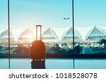 silhouette suitcase luggage on...   Shutterstock . vector #1018528078