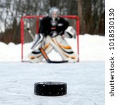 Small photo of Ice hockey puck and goalie