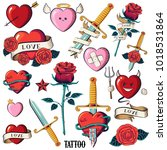 set of hearts  roses and knifes.... | Shutterstock .eps vector #1018531864