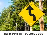 yellow warning sign along a... | Shutterstock . vector #1018538188
