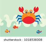 cute crab and fish greeting... | Shutterstock .eps vector #1018538308