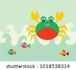 cute crab and fish greeting... | Shutterstock .eps vector #1018538314