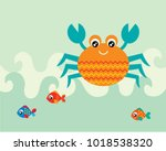cute crab and fish greeting... | Shutterstock .eps vector #1018538320