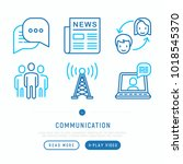 communication thin line icons... | Shutterstock .eps vector #1018545370