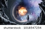 space hole and astronaut. mixed ...   Shutterstock . vector #1018547254