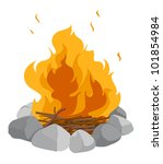 isolated campfire on a white... | Shutterstock . vector #101854984