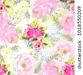 beautiful floral seamless... | Shutterstock . vector #1018550209