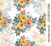 watercolor floral seamless... | Shutterstock . vector #1018551388