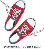pair of red trampled old shoe... | Shutterstock .eps vector #1018551610