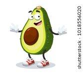 cartoon joyful avocado mascot... | Shutterstock .eps vector #1018556020