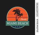 miami beach vintage t shirt... | Shutterstock .eps vector #1018559950