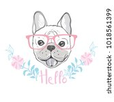 cute french bulldog princess ... | Shutterstock .eps vector #1018561399