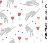 doodles cats and glass of wine... | Shutterstock .eps vector #1018563199