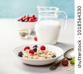 oatmeal porridge with fresh... | Shutterstock . vector #1018564330