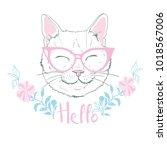 cute cat sketch  illustration ... | Shutterstock . vector #1018567006