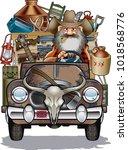 hillbilly driving rusty truck | Shutterstock .eps vector #1018568776