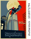 superhero flying through the... | Shutterstock .eps vector #1018571794
