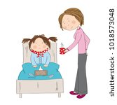 sick girl with flu sitting in... | Shutterstock . vector #1018573048