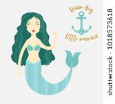 image of a cartoon mermaid | Shutterstock .eps vector #1018573618