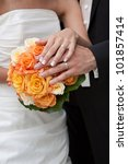 wedding rings and bridal bouquet | Shutterstock . vector #101857414