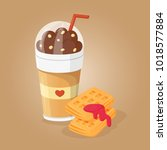 chocolate coffee and wafers... | Shutterstock .eps vector #1018577884