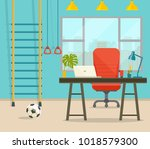 window  table and chair  ball... | Shutterstock .eps vector #1018579300