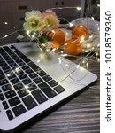 flowers and garland | Shutterstock . vector #1018579360