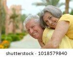 beautiful happy senior couple... | Shutterstock . vector #1018579840