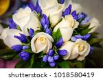 wedding bouquet of white roses...   Shutterstock . vector #1018580419